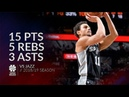 Bryn Forbes 15 pts 5 rebs 3 asts vs Jazz 18/19 season