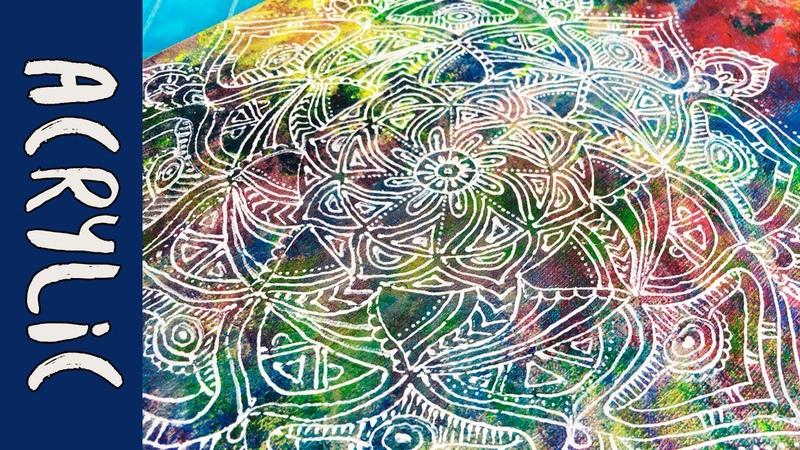 Mandala Acrylic Painting | Zentangle | Colorful time lapse
