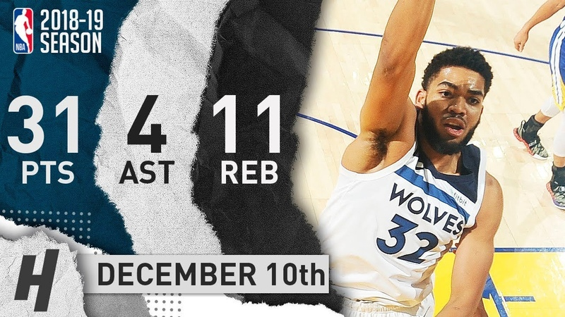 Karl-Anthony Towns Full Highlights Timberwolves vs Warriors 2018.12.10 - 31 Pts, 4 Ast, 11 Reb!