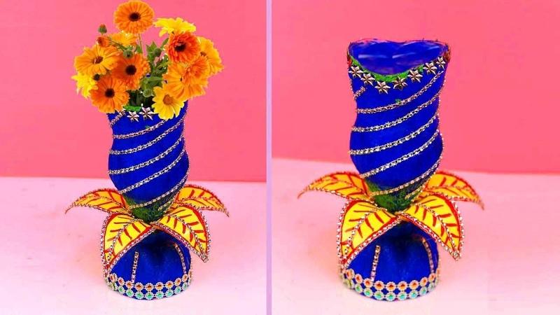Flower Vase Out Of Waste Plastic Bottle DIY Best Out Of Waste Idea at Home