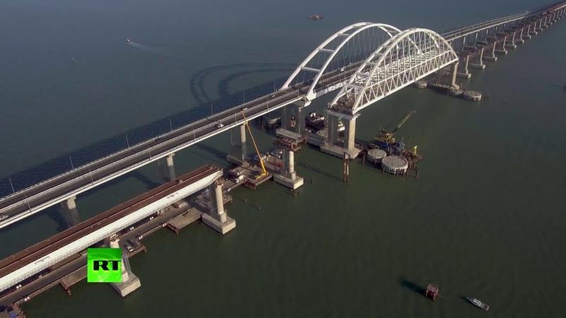 Завершён монтаж опор для железнодорожной части Крымского моста