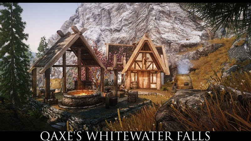 Skyrim SE Mods Qaxe's Whitewater Falls for SSE