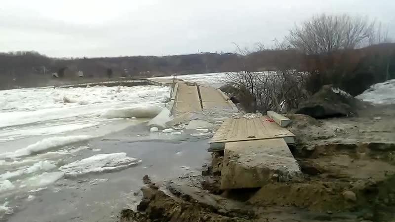 Шонгуй Временный мост МАРМ через р Кола сносит ледоходом Апрель 2019