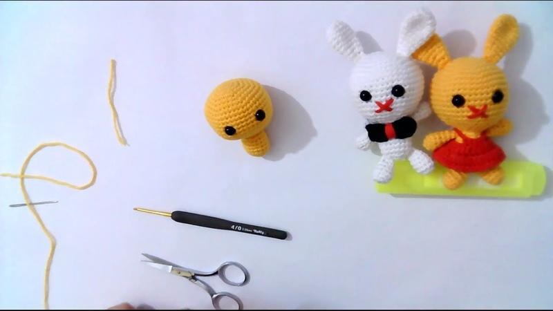 Amigurumi tavşan baş ve gövde yapımı anahtarlık çanta süsü rabbit head and body construction -3