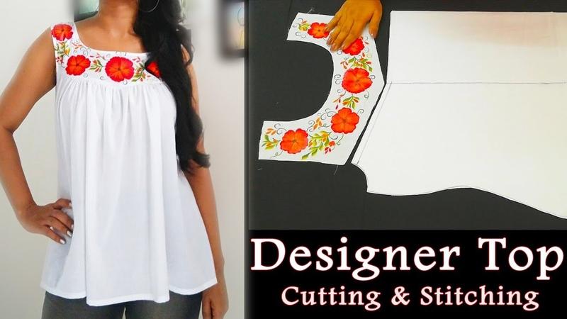 Gathered Sweetheart Yoke Top Cutting and Stitching Designer Top