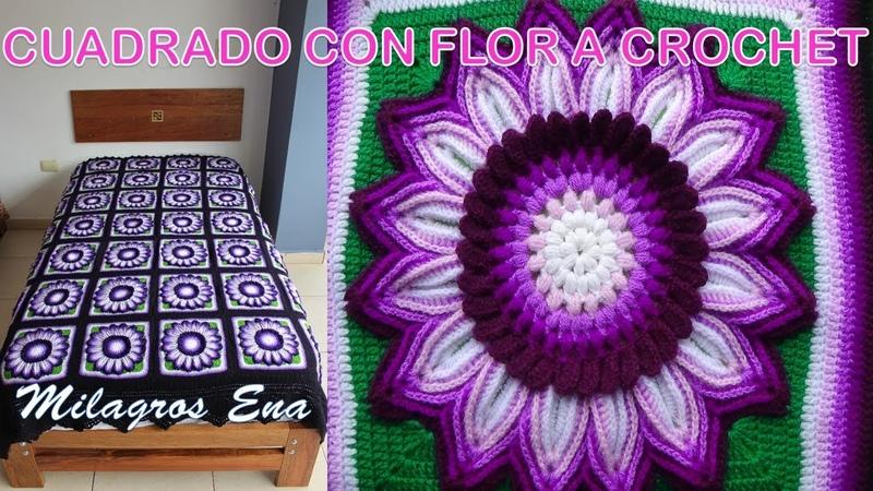 Cuadrado tejido a crochet para colchas y cojines con flores de diversos colores