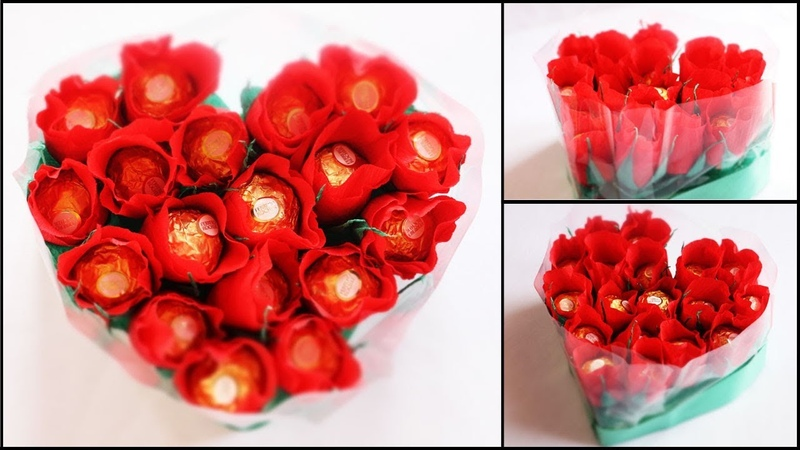 Heart Shape Chocolate Bouquet making | Valentine's Day Gift Idea | DIY Rose Bouquet