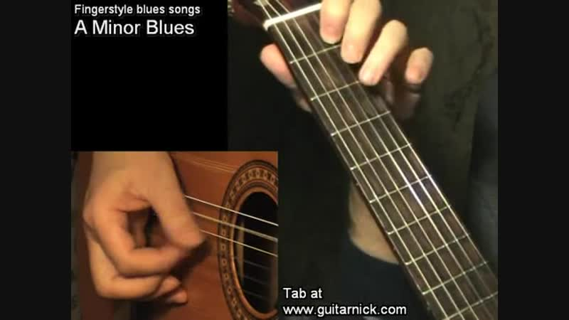A Minor Blues fingerstyle TAB Acoustic guitar lesson