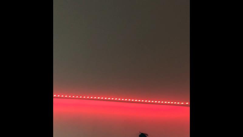 Натяжной потолок с подсвеченным карнизом