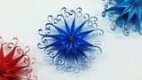 DIY 3D Quilling Paper Snowflakes Christmas Tree Ornaments