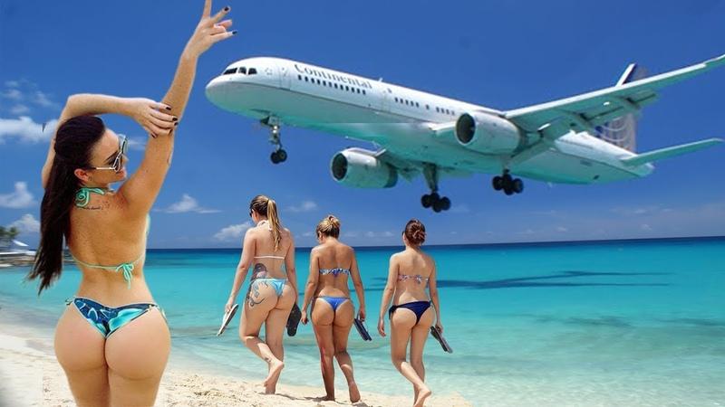 TURBINAS no MÁXIMO - Aeroporto St. Maarten CARIBE - POUSOS e RASANTES na BELA PRAIA
