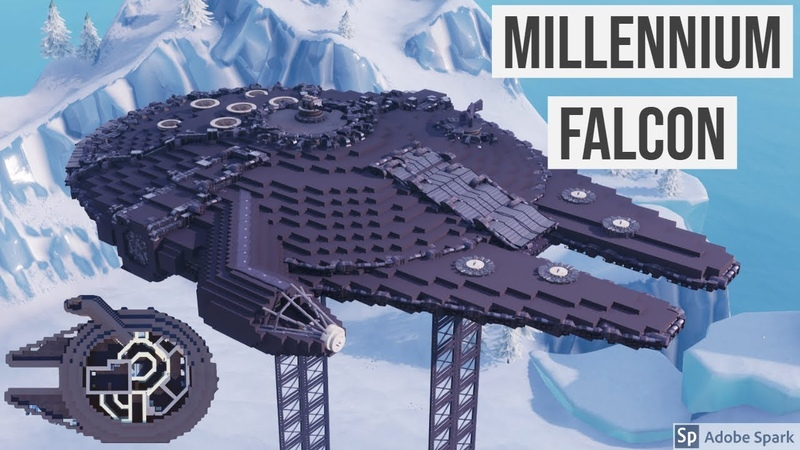 Millennium Falcon (includes full interior) built in Fortnite [Timelapse]