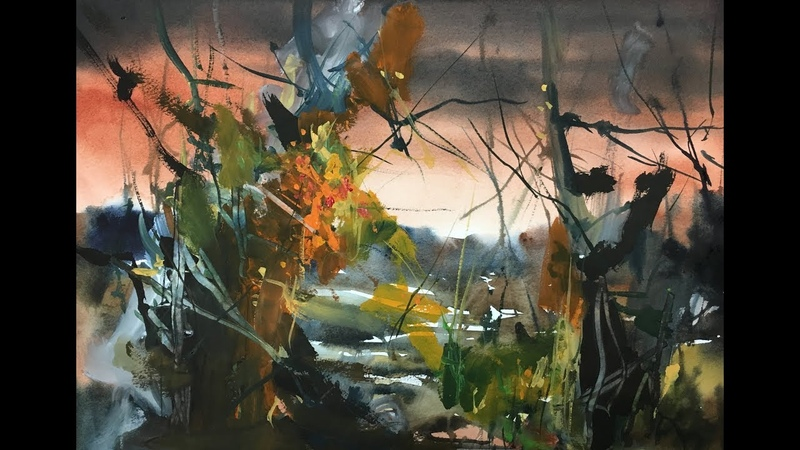 Abstract Landscape Mixmedia Watercolor speed painting workshop