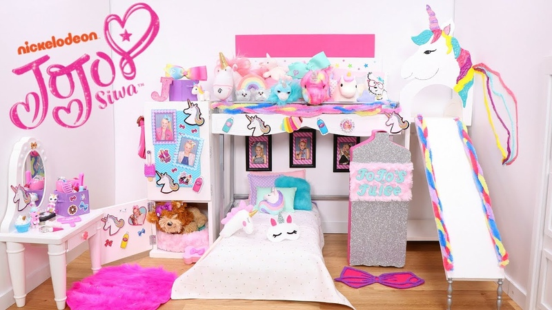 Doll Bunk Bed Slide and Its JoJo Siwa New Bedroom Epic Room Tour With Unicorns Rainbows Furniture!