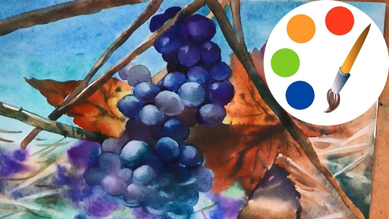 Watercolor painting, Paint grapes, speed painting