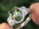 Estate Sale Demantoid Garnet &amp Diamond Ring Solid 14K Gold Must Be Sold Immediately
