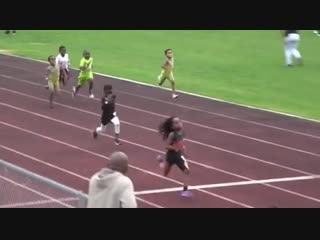 Blaze the great's only seven years old, but runs a 8.69 second 60-meter dash and a 13.48 second 100-meter