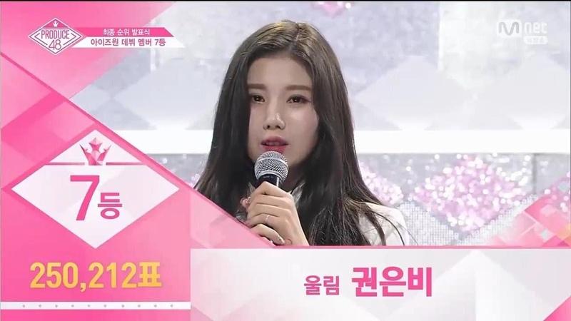 Produce48 EP12 Nice Ranked Seventh place Woollim Kwon Eun Bi (250,212 votes)