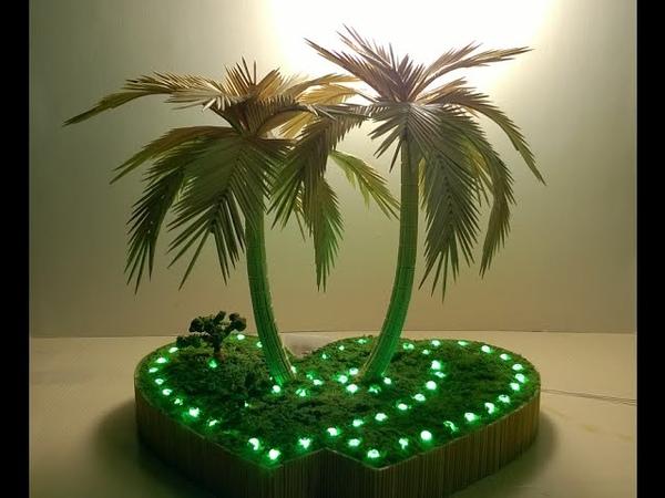 Hướng dẫn làm cây dừa bằng tăm tre (How to make coconut tree from toothpick)