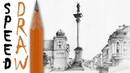 How to draw a street Warsaw Old Town architecture speed drawing