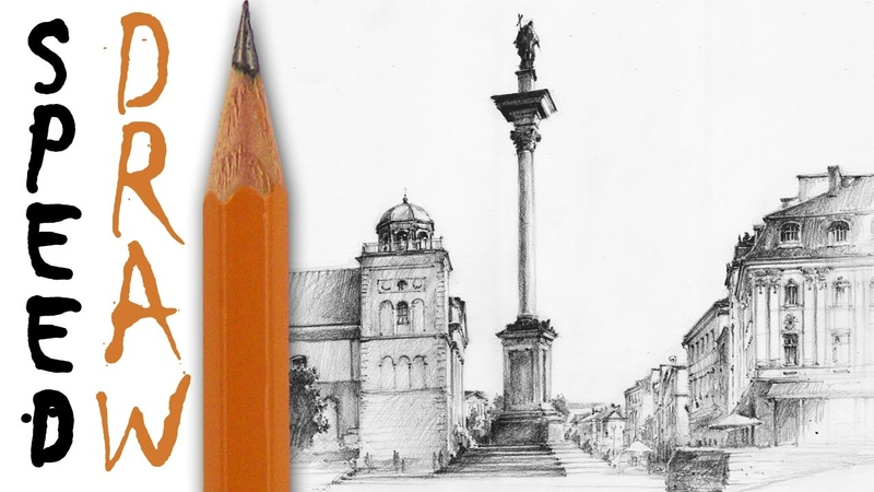 How to draw a street (Warsaw Old Town) - architecture speed drawing