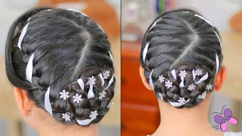 Peinado para Primera Comunión de Niña   Peinado Elegante Para Cabello Corto