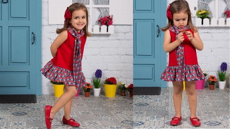 Vestido con cuello anudado. REVISTA PATRONES INFANTILES Nº 9
