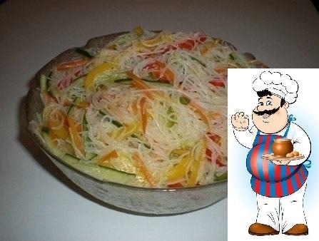 Салат Фунчоза с овощами. Ингредиенты: - 200 г лапши прозрачной рисовой - 3 шт. болгарского перца разного цвета - 2 моркови - 3-4 зубчика чеснока - масло растительное - 1 огурец свежий - 2 ч.л.