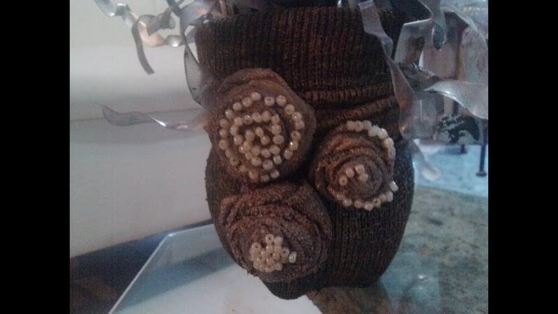 DIY Jarron reciclando calecetonas y envase de refresco pet Vase using stocking and plastic bottle