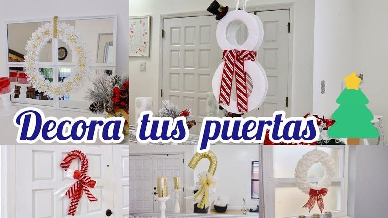 IDEAS PARA DECORAR PUERTAS NAVIDEÑAS bastónes, coronas, muñeco de nieve