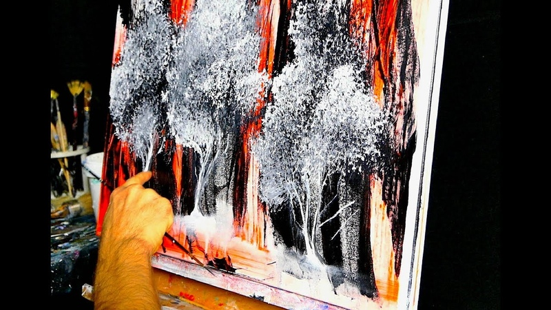 ORANGE ABSTRACT TREE PAINTING BY DRANITSIN