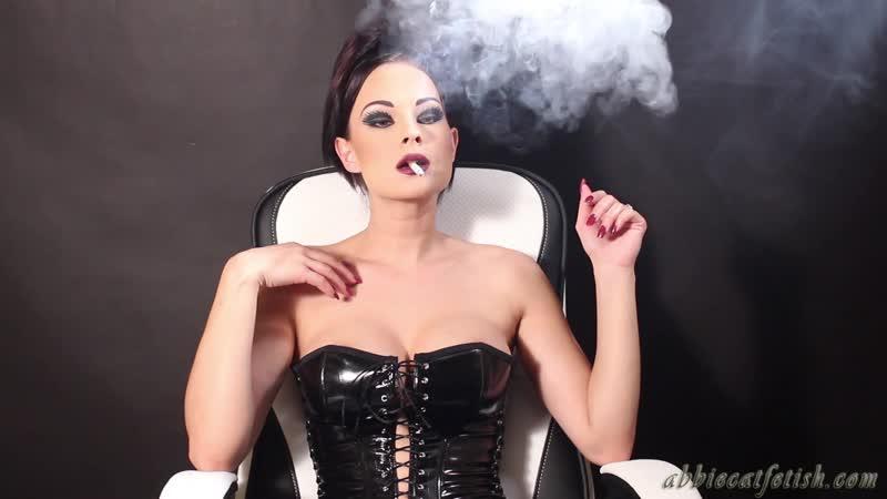 Abbie Cat Smoking in Latex Corset
