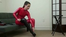 Tilly Red Catsuit Boots feet worship