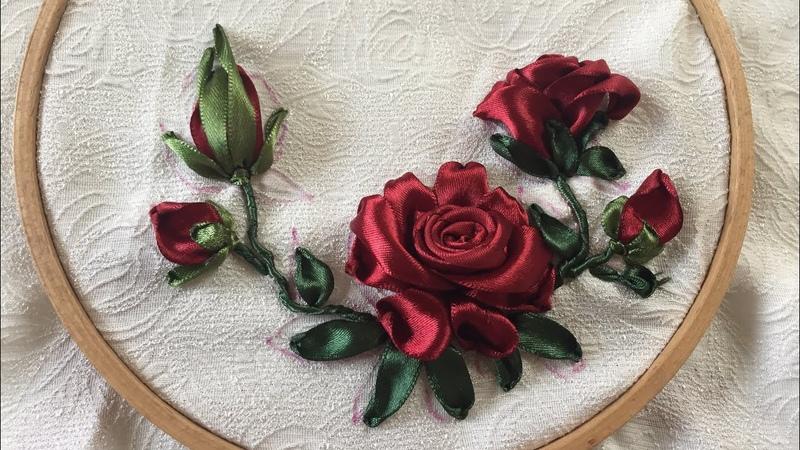 D.I.Y Ribbon Embroisery Rose Hiowbgs dẫn thêu ruy băng hoa hồng đơn giản