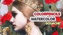Watercolors, Color Pencils Gouache Portrait Painting Timelapse: Die Froschkönigin