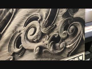 Печать фотографии фрезерованного дерева на фанере с 3D эффектом