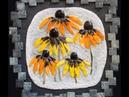 Цветы - мозаичные картины из итальянской мозаики и витражного стекла