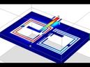 Split-Ring Resonator 910 Mhz bandpass filter, microstrip defected ground plane design.