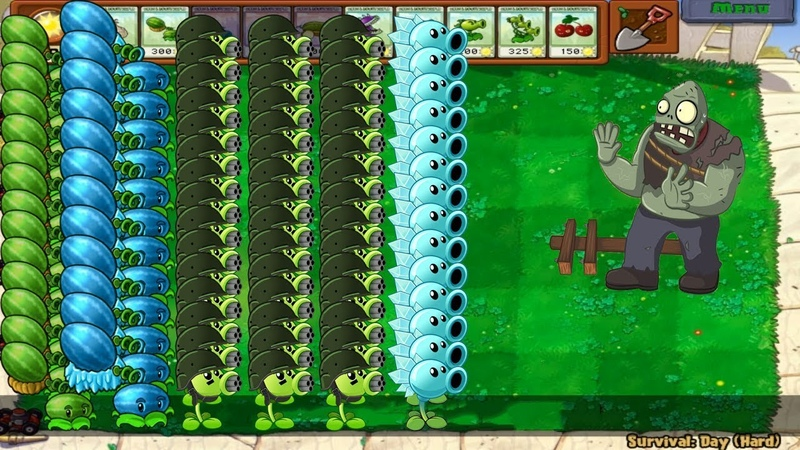 Plants vs Zombies - Gatling Pea, Winter Melon vs Gargantuar