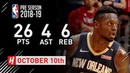 Julius Randle Highlights Pelicans vs Heat - 2018.10.10 - 23 Pts, 4 Ast, 6 Reb!