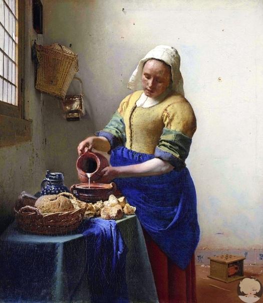 """Одна из самых известных картин Яна Вермеера """"Молочница"""", 16581660 гг."""