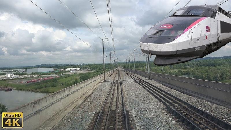 4K TGV Cab Ride de Paris-Nord à Valenciennes en TGV Sud-Est