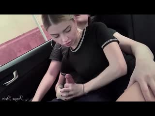 Freya stein - cute teen sucking in car, oral creampie, swallow cum