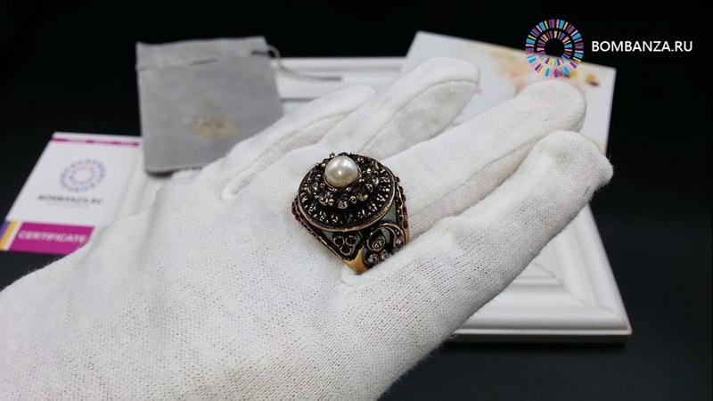 👍 👉 Кольцо Maurizio Mori с жемчугом, гранатом и кристаллами, MM-AN1743. Премиум бижутерия из Италии