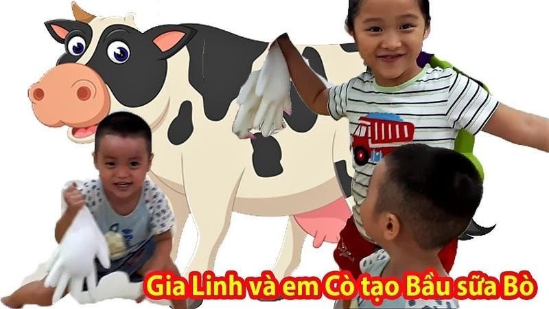 Gia Linh và em Cò tạo hình sáng tạo - Tạo Bầu sữa bò để chơi trò chơi vắt sữa bò