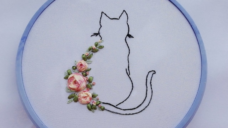Silk Ribbon Embroidery Spider Web Rose 🐱 Вышивка лентами Роза паутинка