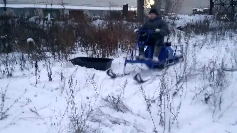 Испытание лыжного модуля, мотобуксировщик Альбатрос XLV15