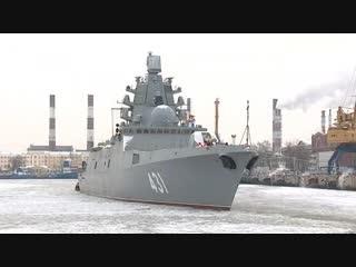 Корабль «Адмирал Касатонов» уходит на ходовые испытания