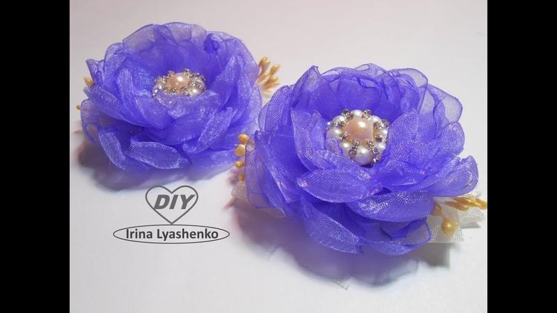 Канзаши.Цветок из ленты органзы МК/DIY Organza flower/PAP Flor de organza174