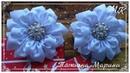 МК Зимние цветочки 9 см ❄️🏵️ Канзаши 🏵️ из репсовой ленты winter flowers flores de inverno